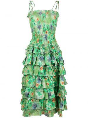 Зеленое платье миди с оборками в цветочный принт Bambah