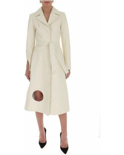 Biały trencz z paskiem z długimi rękawami Off-white