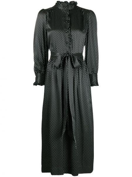 С рукавами шелковое черное платье макси Marc Jacobs