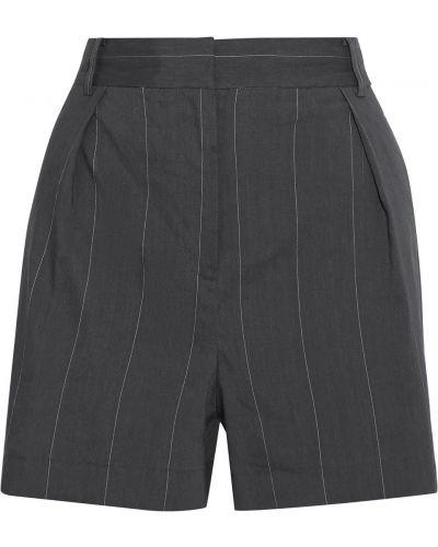 Серые льняные шорты с карманами Tibi
