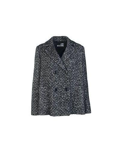 Серое пальто осеннее Moschino Love