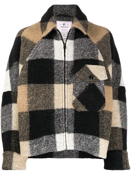 Белое свободное шерстяное длинное пальто с воротником Woolrich
