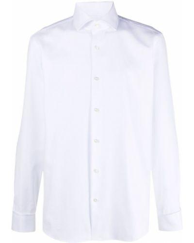 Biała koszula bawełniana zapinane na guziki Boss Hugo Boss