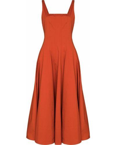Хлопковое оранжевое платье миди без рукавов Staud