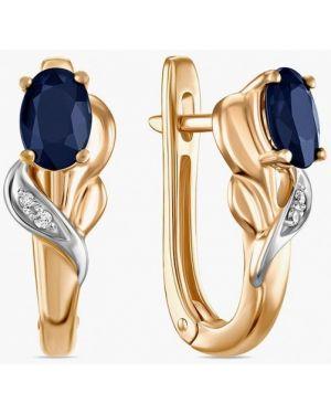 Золотые серьги удлиненные синий московский ювелирный завод