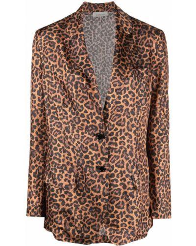 Однобортный коричневый удлиненный пиджак с карманами Laneus