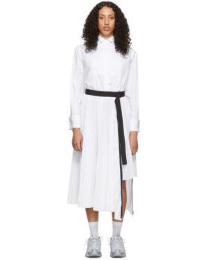 Платье макси на пуговицах плиссированное Sacai