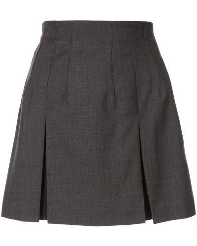 Плиссированная серая юбка мини со складками Kimhekim