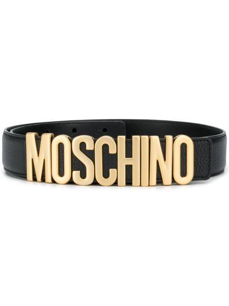 Золотистый черный кожаный ремень Moschino