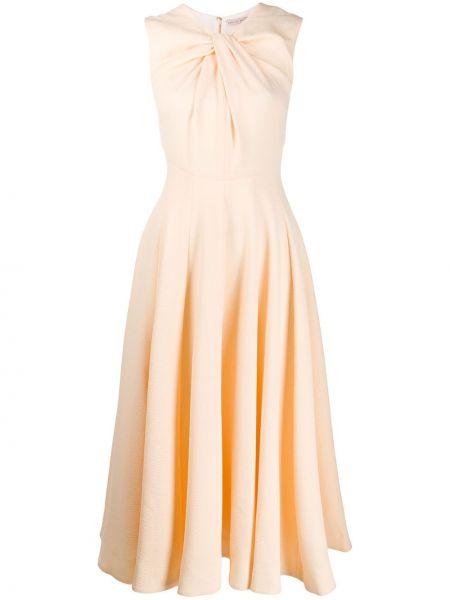 Расклешенное приталенное платье миди без рукавов с вырезом Emilia Wickstead