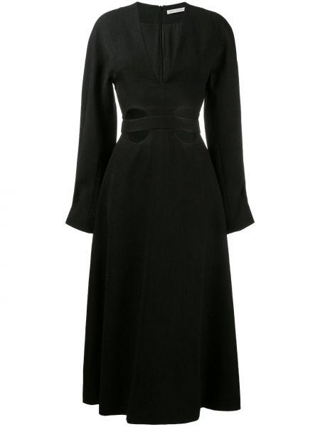 Черное расклешенное приталенное платье с V-образным вырезом Emilia Wickstead