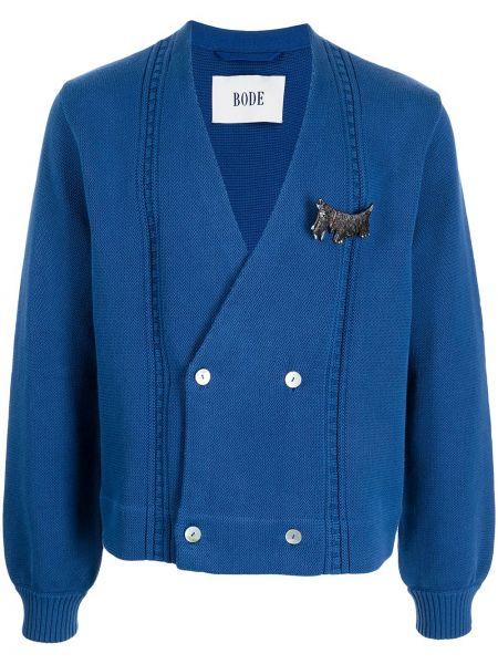 Niebieski sweter z dekoltem w serek Bode