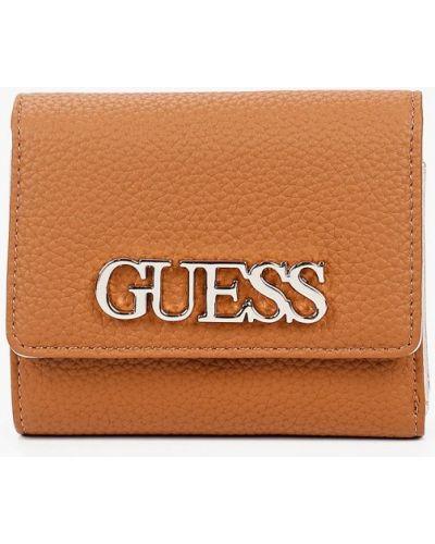 Коричневый кожаный кошелек Guess