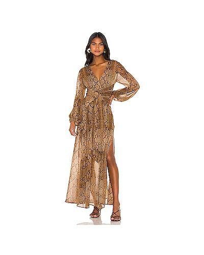 Платье макси с поясом шифоновое L'academie