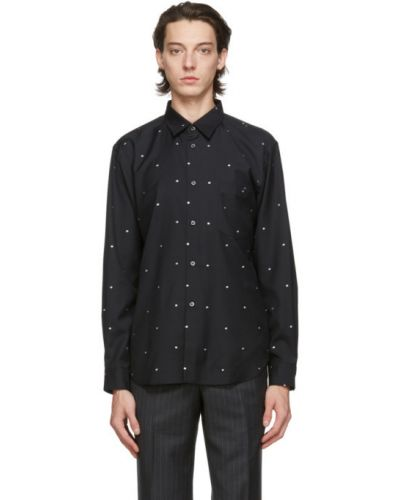 Czarna koszula w grochy z długimi rękawami Comme Des Garcons Homme Deux