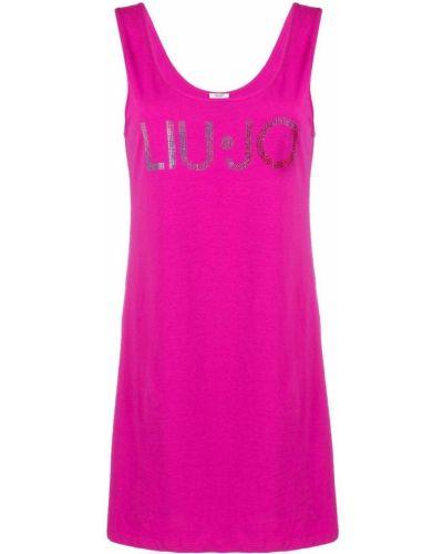 Прямое розовое платье с вырезом Liu Jo