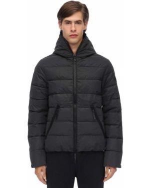 Czarna kurtka z kapturem z nylonu Hydrogen