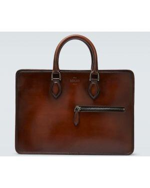 Повседневный коричневый кожаный портфель Berluti