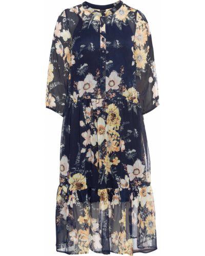Шифоновое синее платье в цветочный принт Bonprix