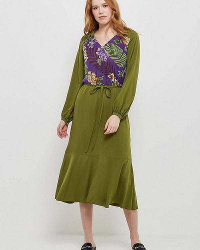 Зеленое платье с длинными рукавами Artwizard