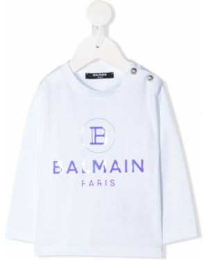 Хлопковая с рукавами белая футболка Balmain Kids