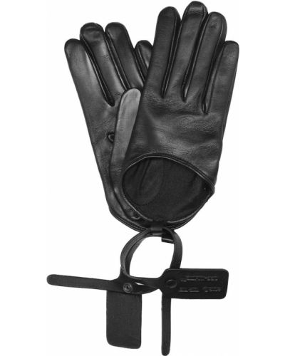 Черные кожаные перчатки из натуральной кожи с опушкой Off-white