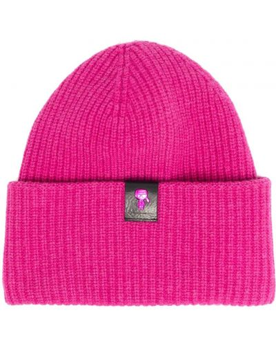 Шерстяная шапка бини - розовая Karl Lagerfeld