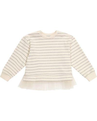 Biały sweter w paski bawełniany Brunello Cucinelli Kids