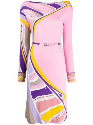 Платье миди с поясом с абстрактным принтом Emilio Pucci