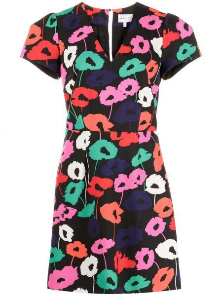 Прямое черное платье мини с короткими рукавами Milly