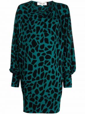 Czarna sukienka długa z printem Dvf Diane Von Furstenberg