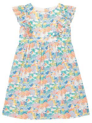 Ватное хлопковое синее платье Bonpoint
