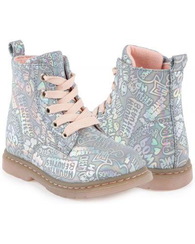 Текстильные серебряные ботинки на молнии Kdx