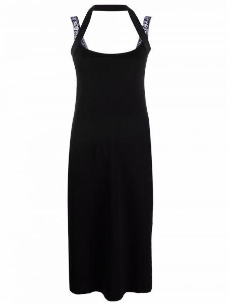 Хлопковое черное платье миди без рукавов Diesel