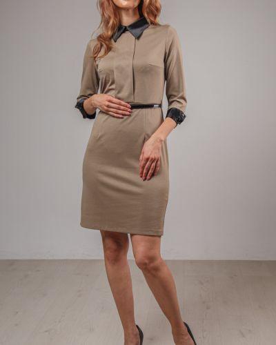 Прямое приталенное платье-футляр с воротником на молнии Lila Classic Style