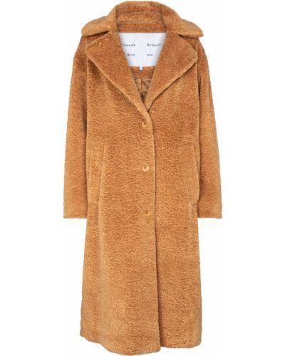 Коричневое пальто из искусственного меха Proenza Schouler