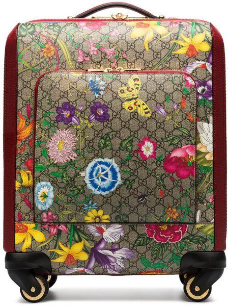 Парусиновый красный чемодан Gucci