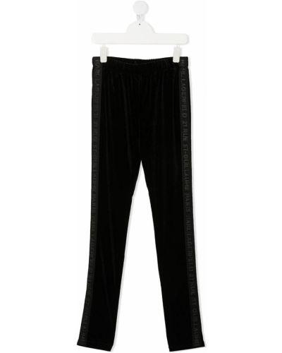Приталенные бархатные черные леггинсы с нашивками Karl Lagerfeld Kids