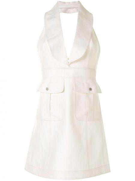 Белое платье с V-образным вырезом без рукавов узкого кроя Alexis