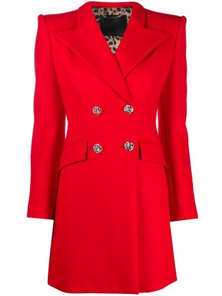 Płaszcz wełniany elegancki z długimi rękawami Philipp Plein
