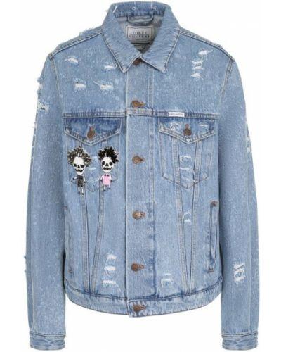 Джинсовая куртка свободная с карманами Forte Couture