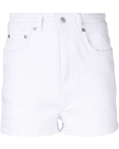 Белые джинсовые шорты с карманами со стразами Givenchy