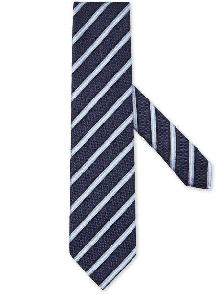 Синий шелковый галстук в полоску Ermenegildo Zegna