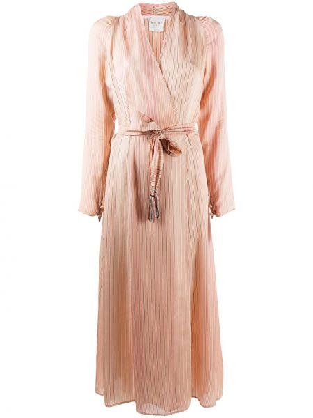 Шелковое с рукавами розовое платье миди Forte Forte