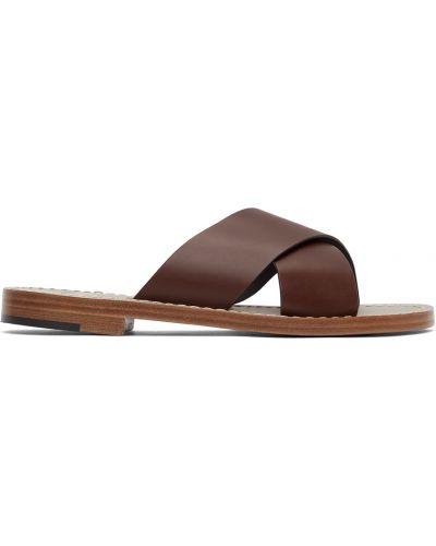 Brązowe sandały skorzane kaskadowe Isaia