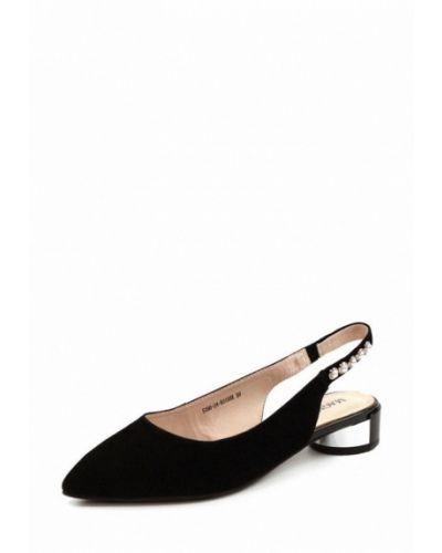 Туфли на каблуке замшевые с открытой пяткой Magnori