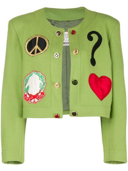 Шерстяная зеленая короткая куртка винтажная Moschino Pre-owned
