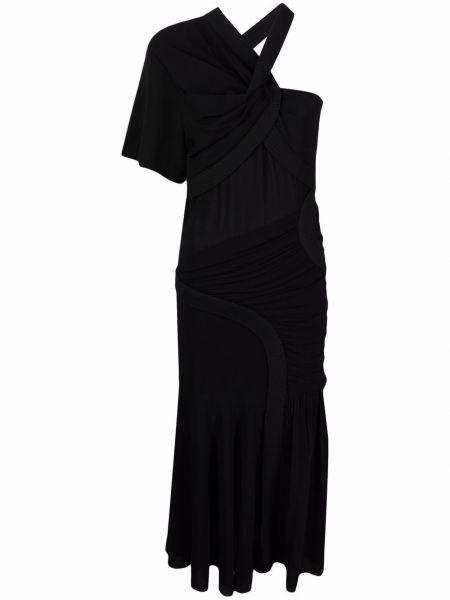 Платье миди с V-образным вырезом - черное Stella Mccartney