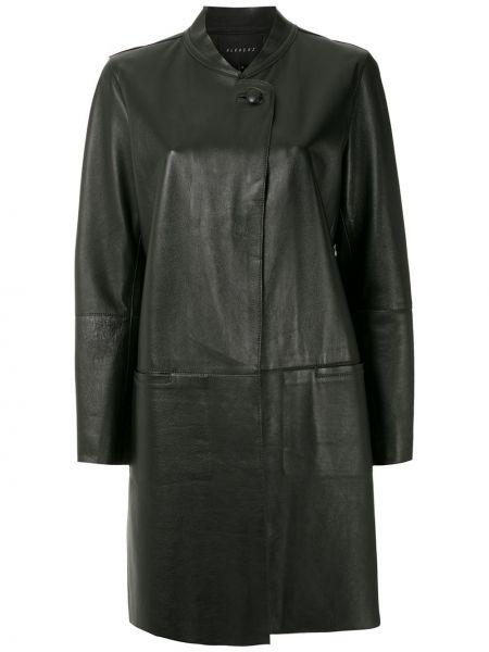 Свободное черное кожаное длинное пальто Alcaçuz