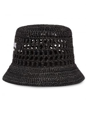 Czarny kapelusz z printem Prada
